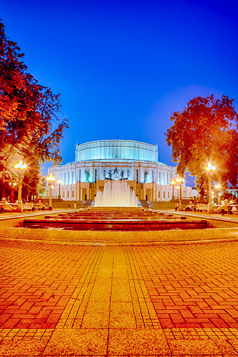 Belarus Heritage Concepts. The National Academic Bolshoi Opera and Ballet Theatre of the Republic of Belarus with Rennovated Fountains and Illumination. Picture Taken During Blue Hour.