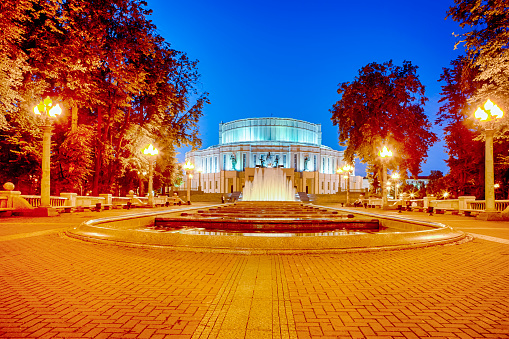 Belarus Heritage Concepts. The National Academic Bolshoi Opera and Ballet Theatre of the Republic of Belarus with Rennovated Fountains and Illumination. Picture Taken During Blue Hour. Horizontal Orientation