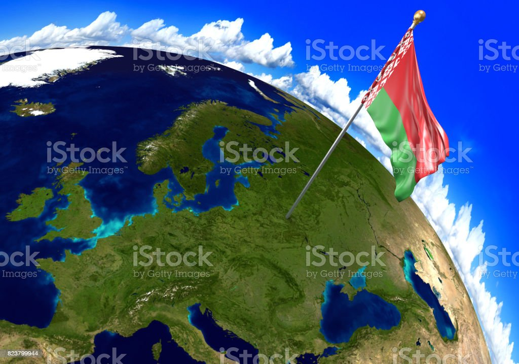 Belarus national flag marking the country location on world map 3d belarus national flag marking the country location on world map 3d rendering parts of gumiabroncs Images