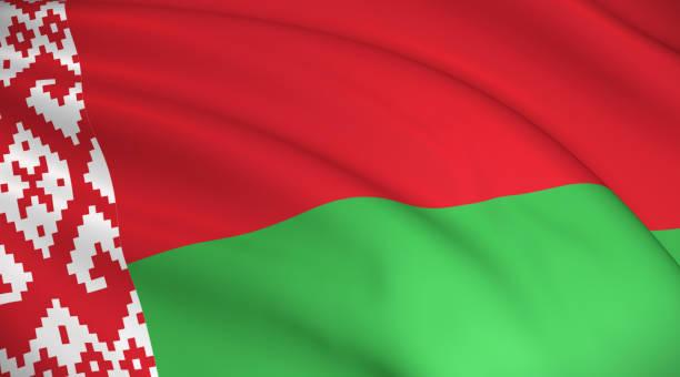Belarus National Flag (Belarusian flag) Waving background illustration. Highly detailed realistic 3D rendering belarus stock pictures, royalty-free photos & images