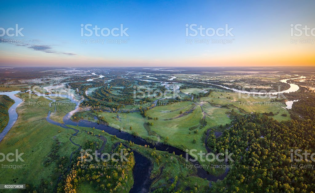 Belarusian river River Prypiac' (aerial photo) at National park Prypyatski Aerial View Stock Photo