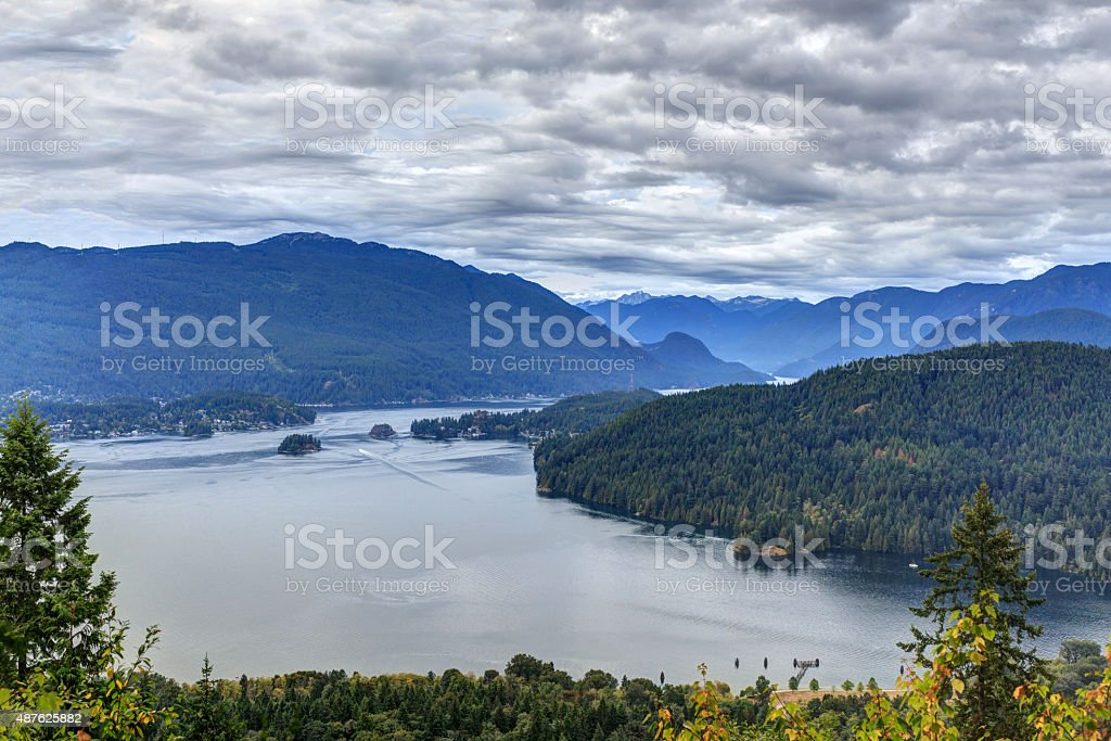 Belcarra Park and Burrard Inlet, with cloudscape stock photo