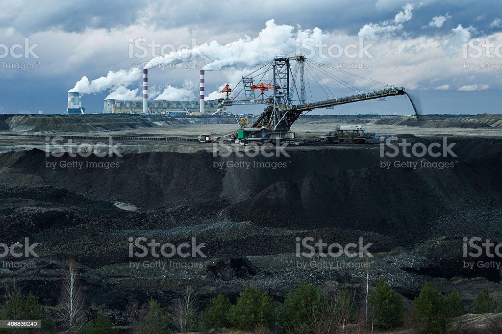 Belchatow open-pit coal mine stock photo
