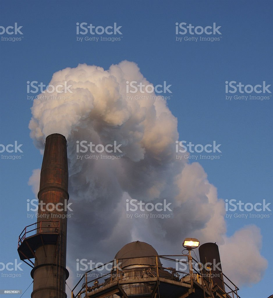 Belching Smoke Out of Factory royalty-free stock photo