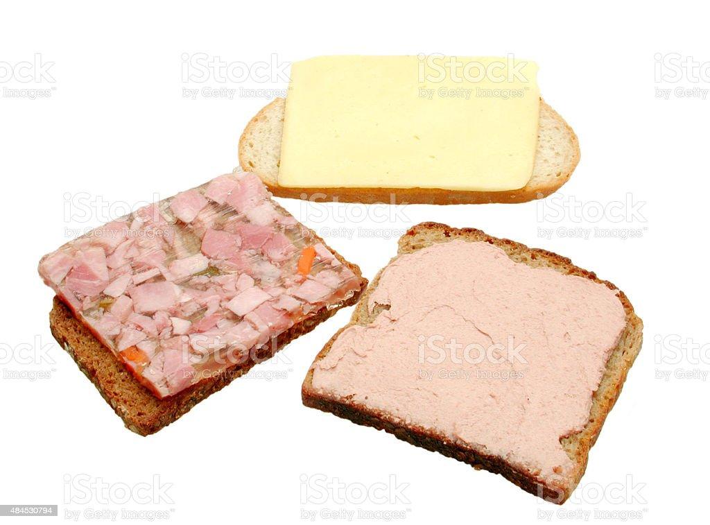 Belegte Brote mit Sülze, Leberwurst, Käse stock photo