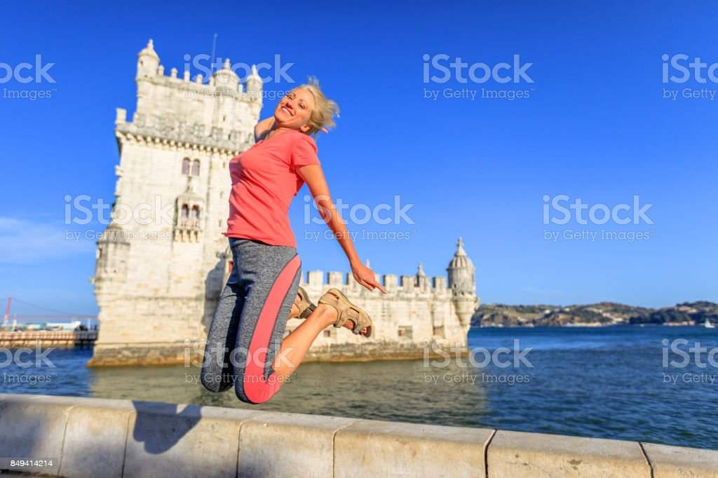 Torre de Belem jumping stock photo