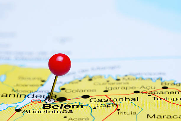Belem pinned on a map of Brazil stock photo