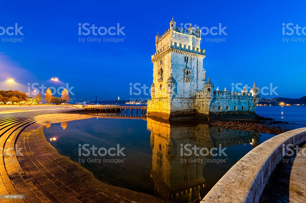Belem Tower at night stock photo