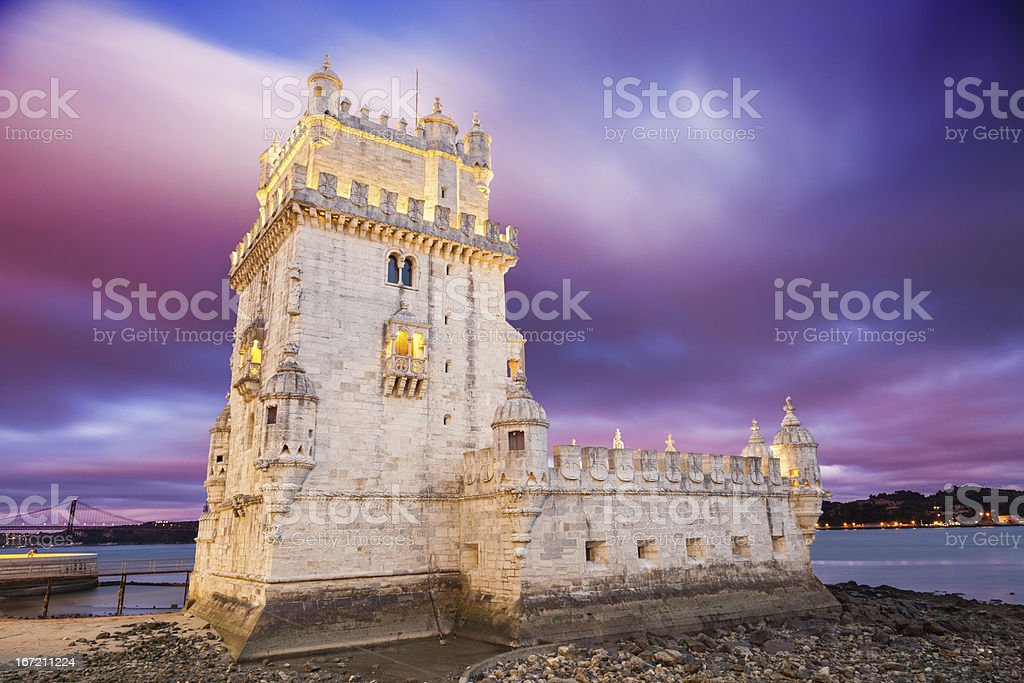 Belem tower at sunset. Lisbon, Portugal stock photo