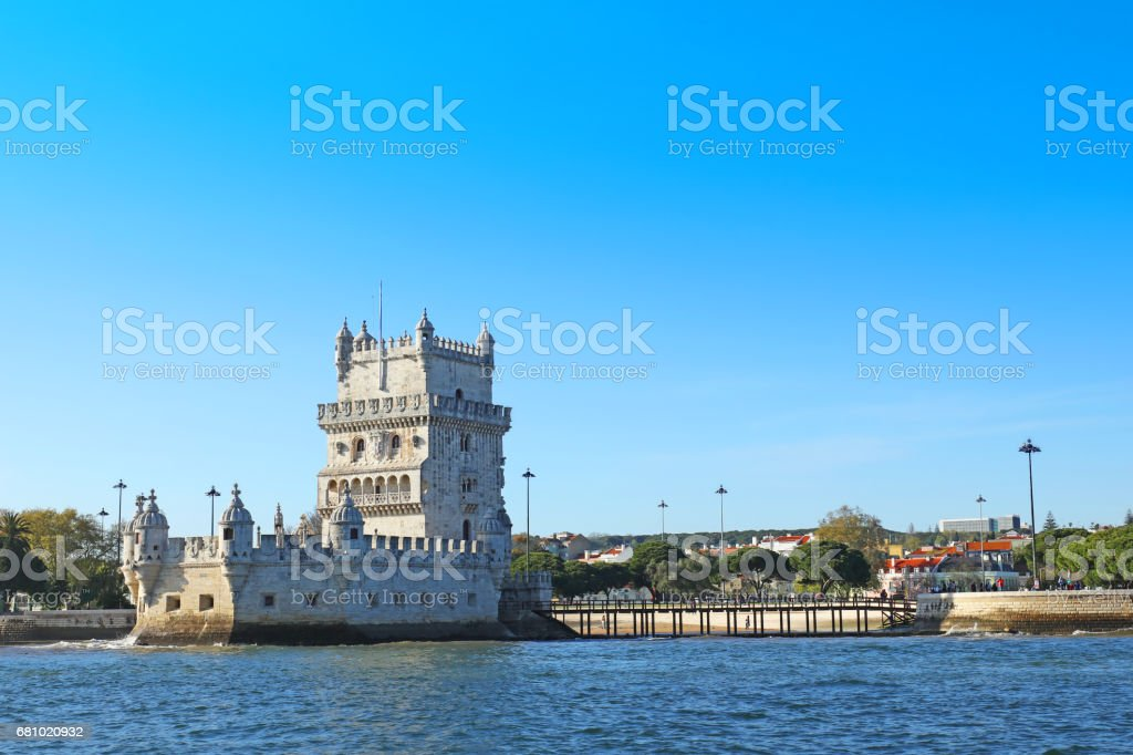 Belem Tower in Lisbon as Seen from Tagus River stock photo