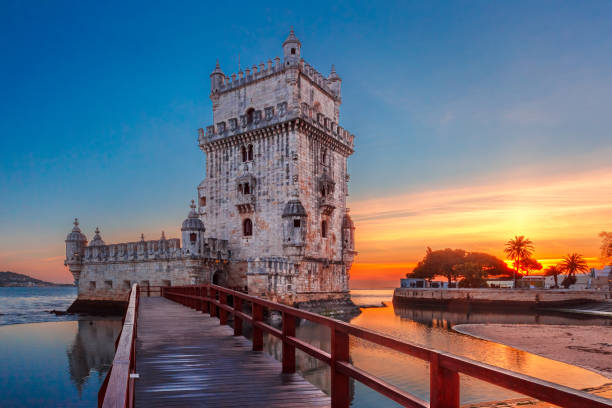 Belem Tower in Lisbon at sunset, Portugal stock photo