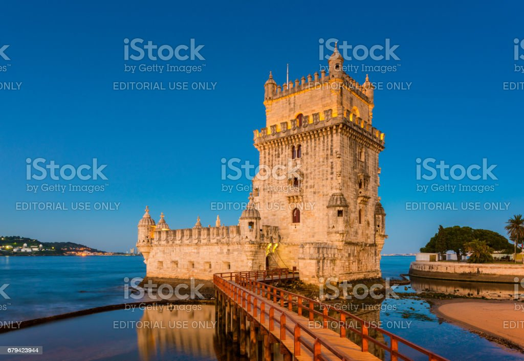 Belem Tower in Lisbon Portugal at sunrise stock photo