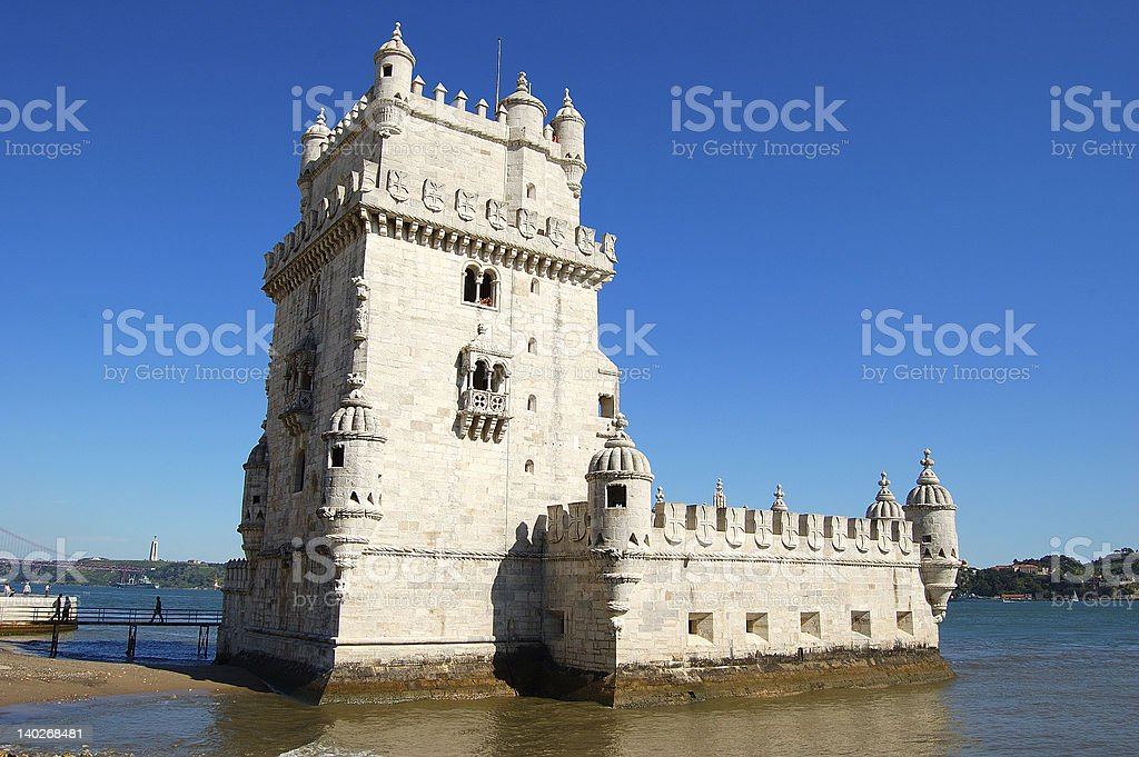 Belem Tower in Portugal on a clear day royalty-free stock photo