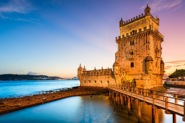 belem tower in portugal - portugal stock photos and pictures