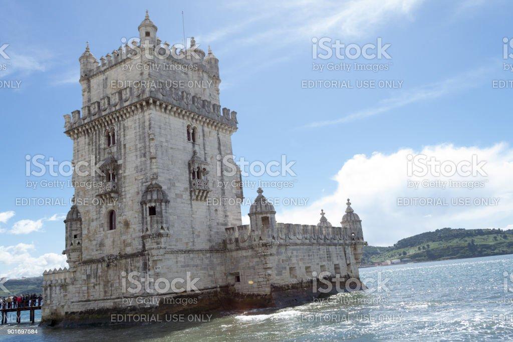 Torre de Belém, na margem do Rio Targus (Belém, Portugal) - foto de acervo