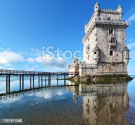 Belem Tower on the Tagus river, Lisbon, Portugal. Composite photo