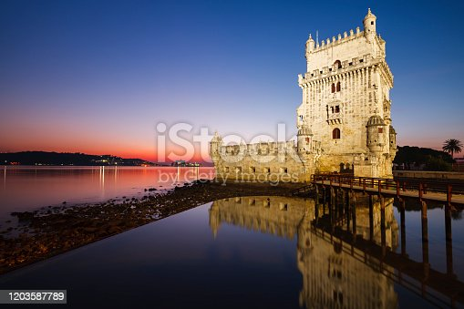 View of the Belem Tower in Lisbon, Portugal just after the sun has set. It was classified as a World Heritage Site in 1983 by UNESCO.