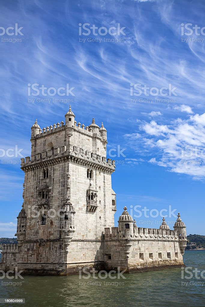 Belem Tower on the banks of Tagus River, Lisbon, Portugal stock photo