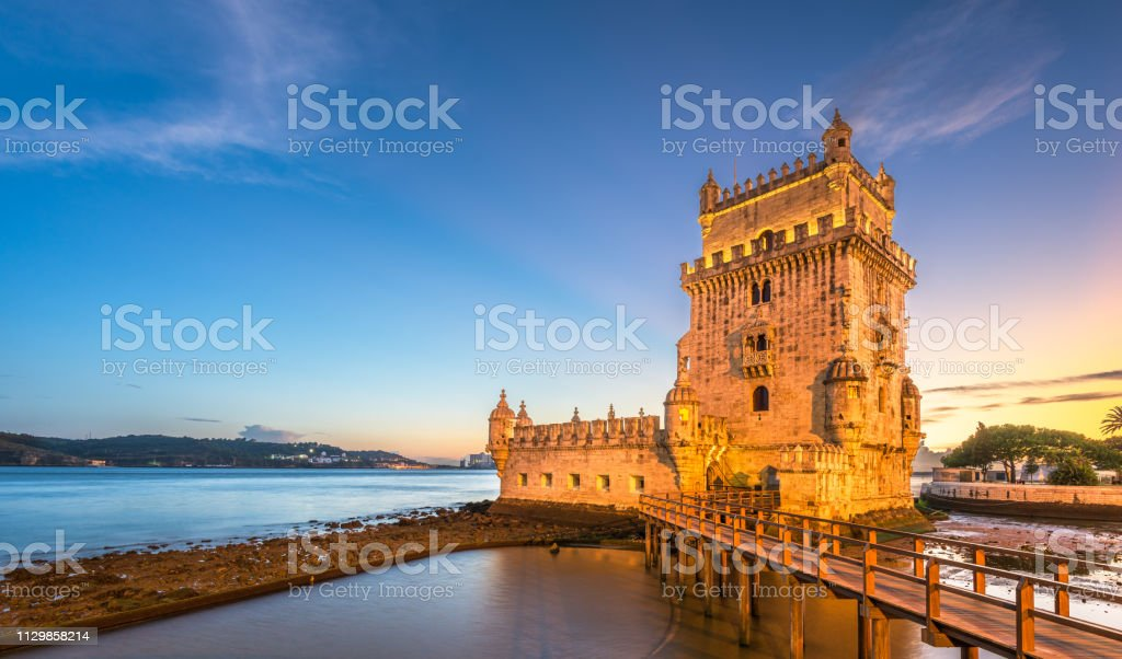 Belem Tower on the Tagus River in Lisbon stock photo