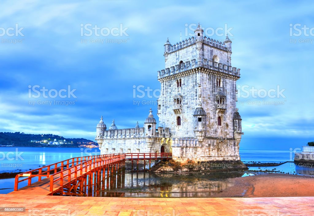 Belem Tower on the Tagus River, Lisbon, Portugal stock photo