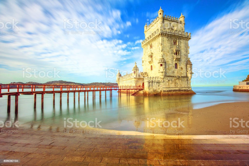 Belem Tower reflects stock photo