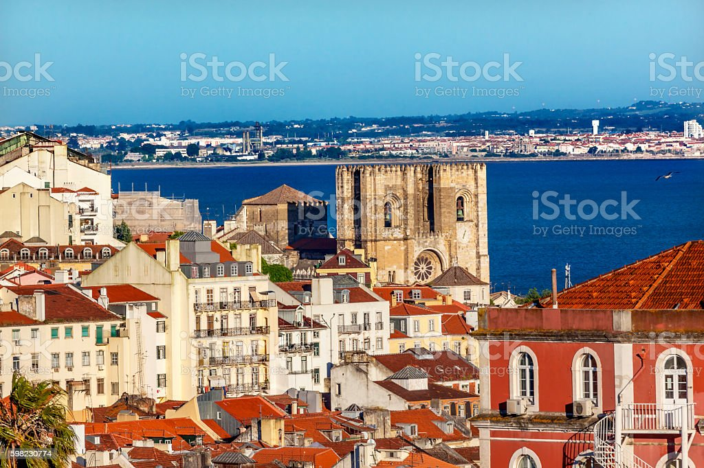 Belevedere Miradoura Outlook Cathedral Lisbon Portugal foto royalty-free