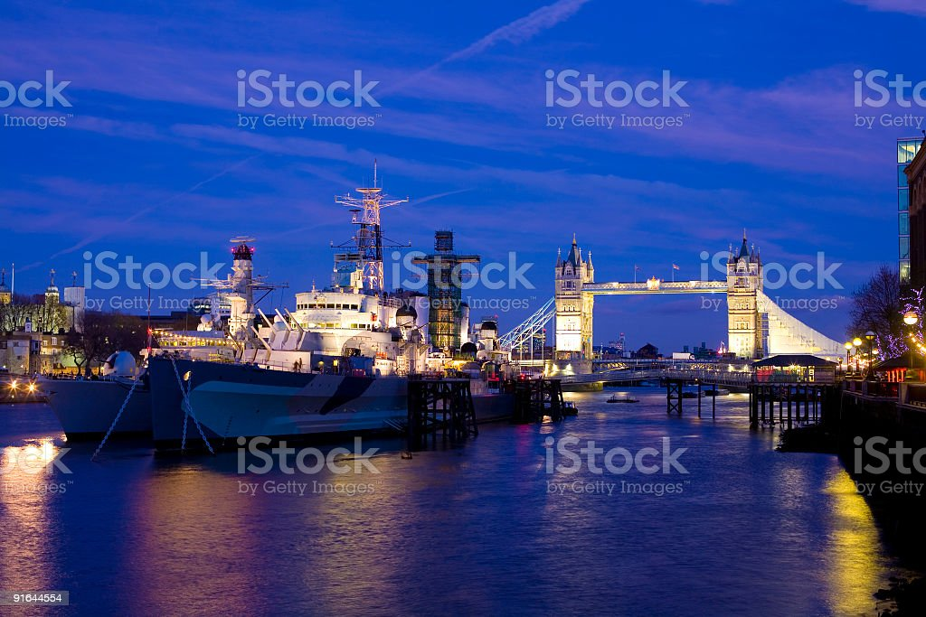 HMS Belfast and Tower Bridge, London royalty-free stock photo