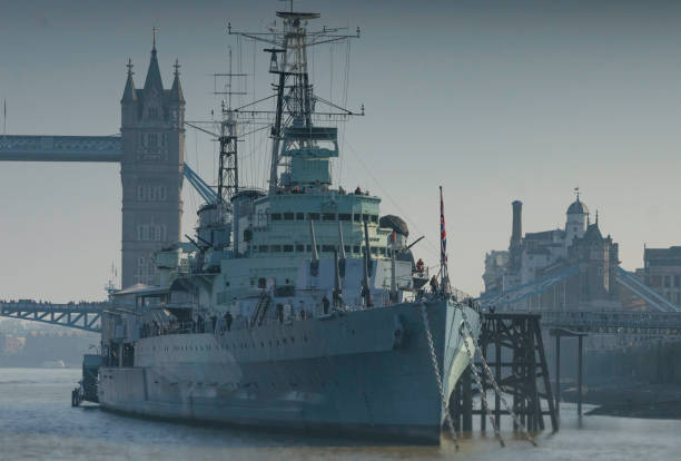 HMS Belfast and Tower Bridge stock photo