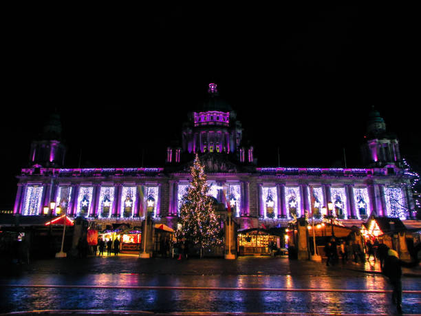 Belfast City Hall lit up with festive holiday Christmas lights.