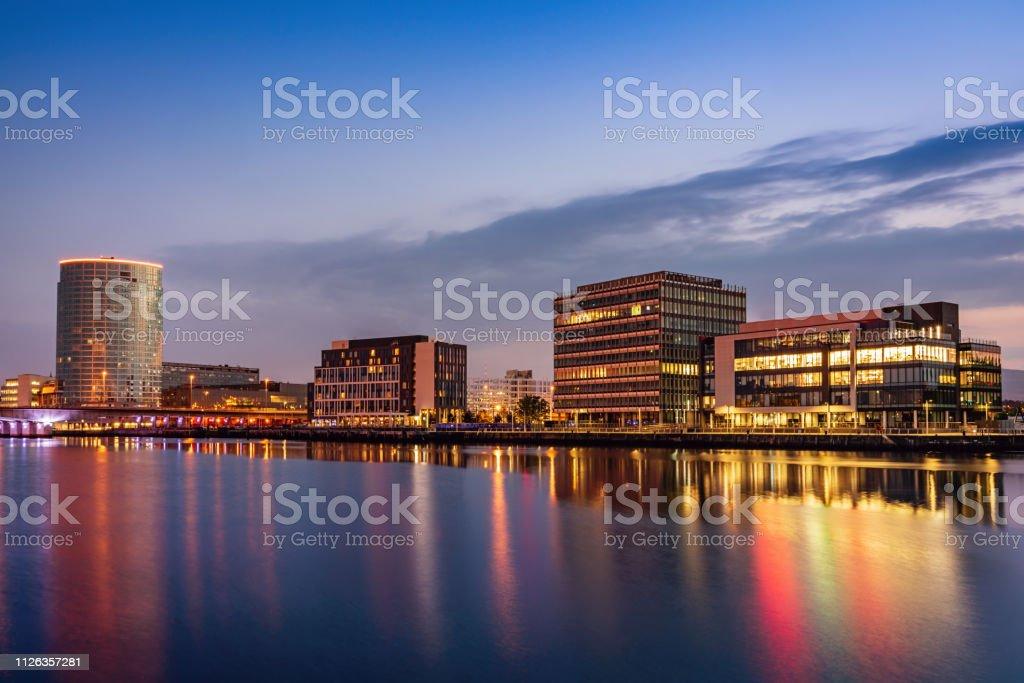 Belfast Cityscape River Lagan at Night Northern Ireland stock photo