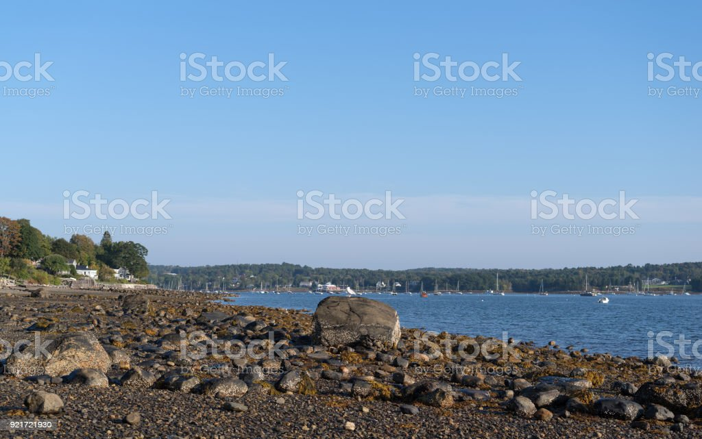 Belfast Harbor and shoreline in Maine stock photo