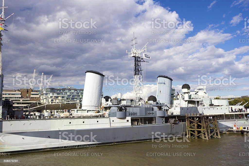HMS Belfast in Southwark, London royalty-free stock photo
