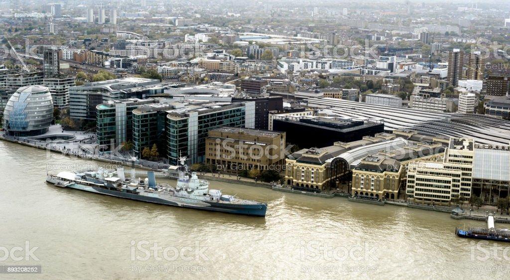 HMS Belfast London City Skyline Daytime stock photo