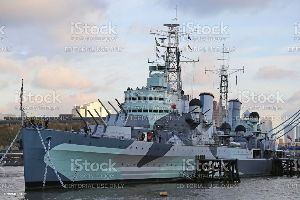 HMS Belfast Museum Ship stock photo