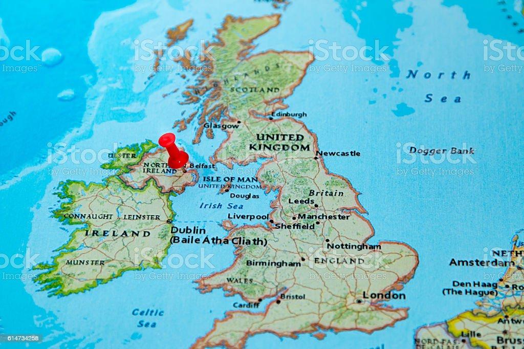 Belfast Northern Ireland Uk Pinned On A Map Of Europe Stock Photo