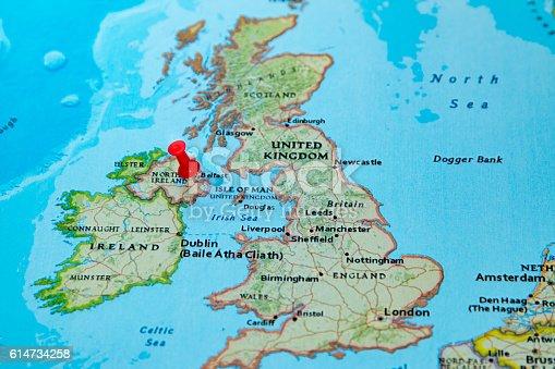 Ireland Map Of Europe.Belfast Northern Ireland Uk Pinned On A Map Of Europe Stock Photo