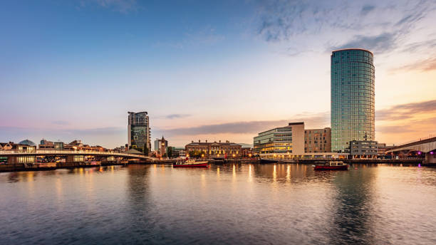 Belfast River Lagan Panorama at Night Northern Ireland stock photo