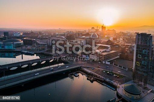 Belfast city center form a drone
