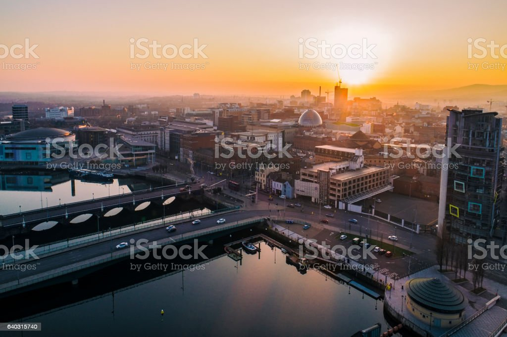 Belfast sunset aerial view - Photo