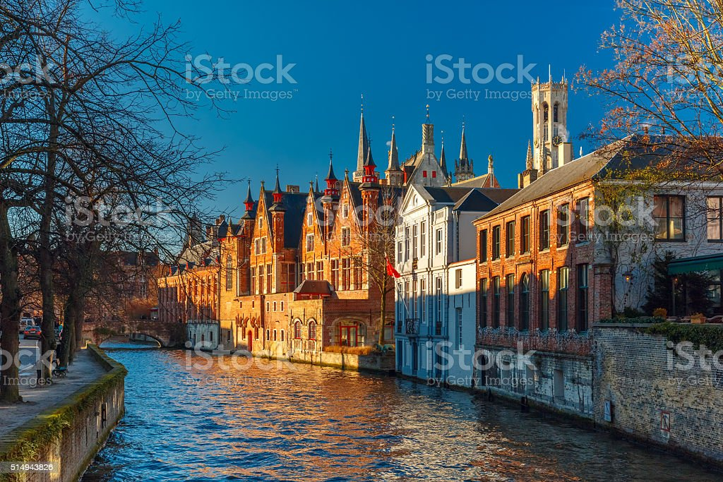 Belfort and the Green canal in Bruges, Belgium stock photo