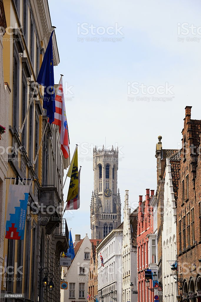 Belfried Tower in the City of Bruges Belgium stock photo