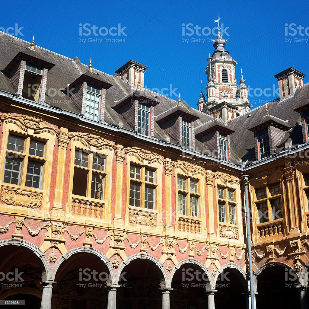 Belfry and building on main square of Lille - France stock photo