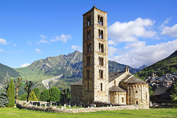 Belfry and church St. Clement of Tahull. Spain Belfry and church of Sant Climent de Taull, Catalonia, Spain. romanesque stock pictures, royalty-free photos & images