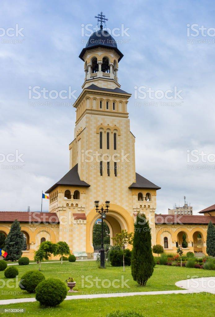 Belfry and entrance gate of the citadel in Alba Iulia, Romania stock photo
