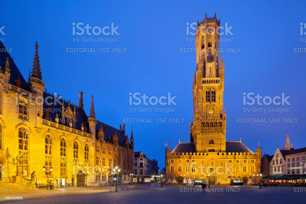 Belfry And Market Of Bruges At Night stock photo