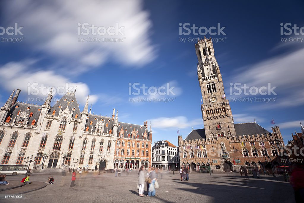 Belfry And Market Of Bruges Long Exposure stock photo