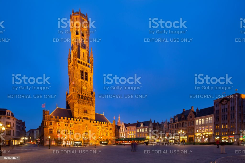 Belfry And Market Place in Bruges, Belgium stock photo