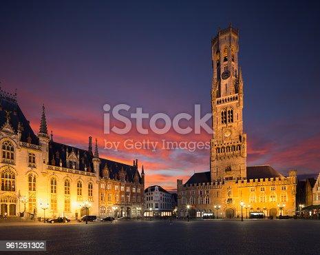 Belfort van Brugge -  famouse 12th-century belfry Belfort of Bruges and Grote Markt square, Belgium.