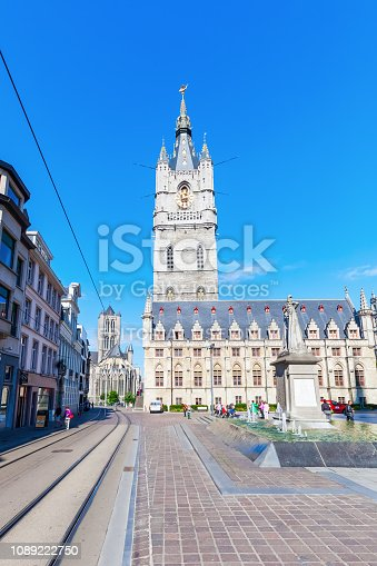 Ghent, Belgium - September 02, 2015: Belfry in Ghent with unidentified people. The Belfry is part of the UNESCO world heritage since 1999