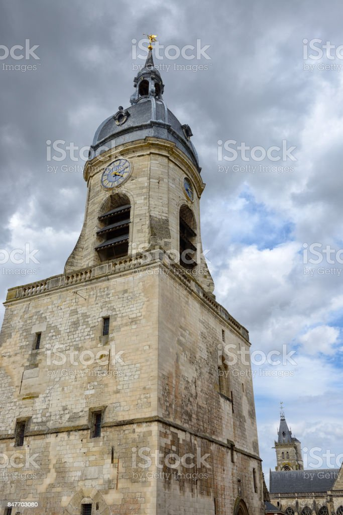 Belfry of Amiens, France, closeup stock photo